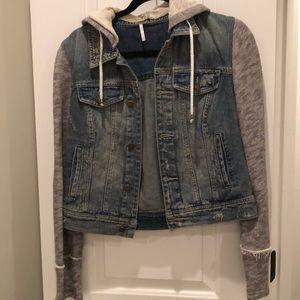 Free People Jean jacket with hoodie